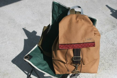 No.51 tarpaulin bag hand made simple plain after the beam port Backpack (Brown)