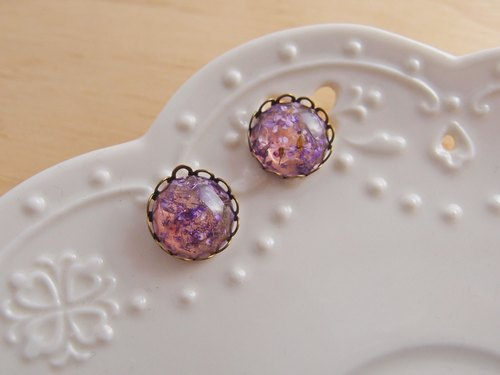[CA007-3 florid forest Mysterious purple x x hypoallergenic natural dried flowers needle / stylus / Clip Earrings