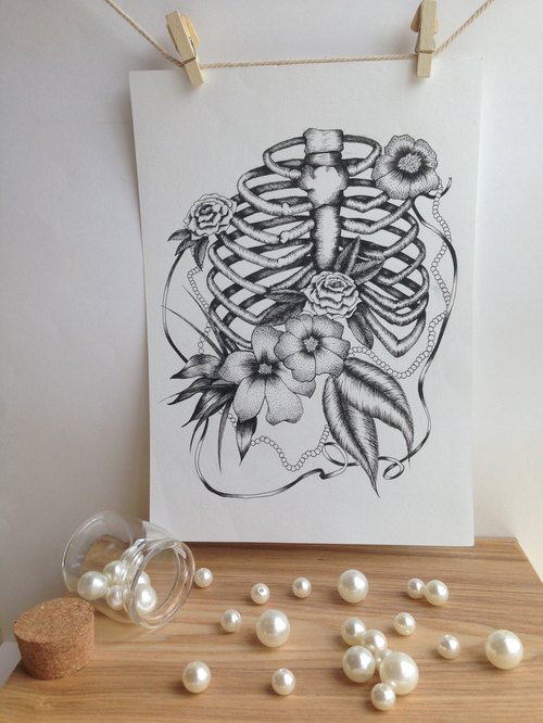 Illustration painted paintings [Skeleton & Flowers bones with flowers]