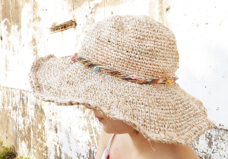 c1188e10f8f Handmade Hand-woven Hemp and Cotton Hat with adjustable edges ...