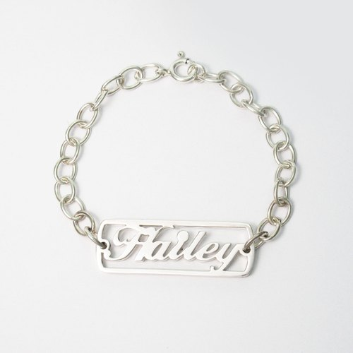 English name custom bracelet Bracelet - hollow (female) 925 sterling silver bracelets silver -ART64