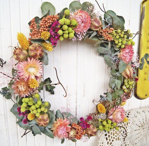 Spring romantic colorful dried wreaths