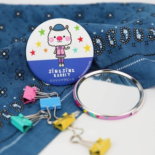 Star Rabbit Sing Sing Rabbit Blue Round Mirror