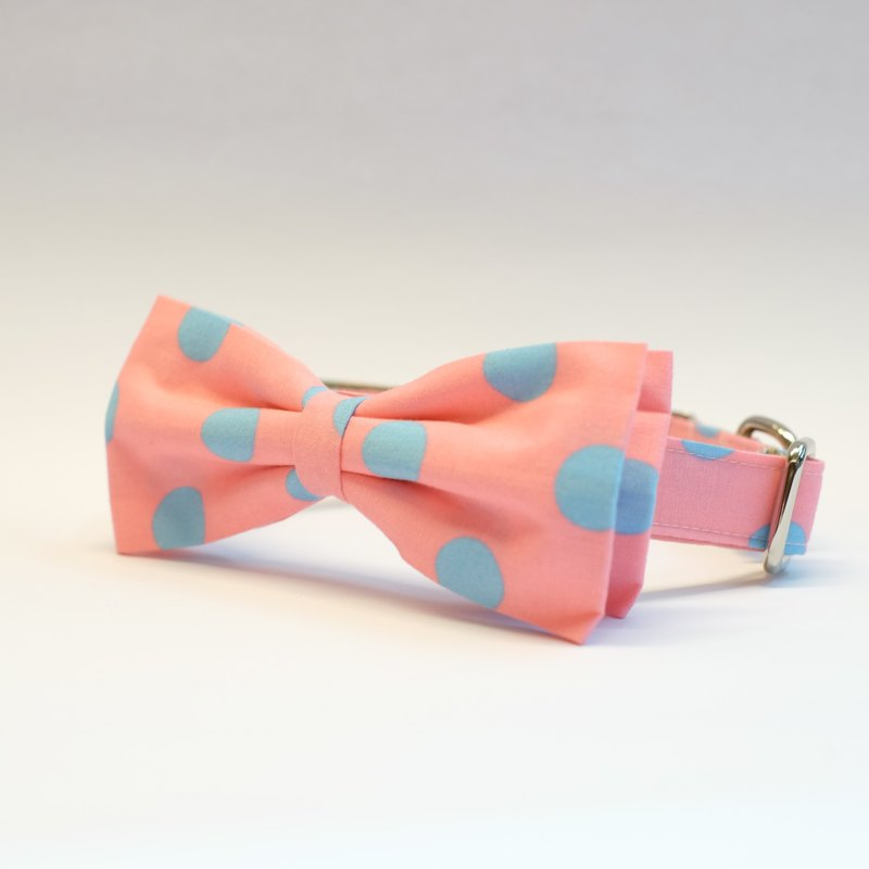 Pink- Light Blue Polkadot Bowtie Collar