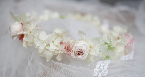 [Immortal flower wedding garland - White Green] - immortalized flower / dried flowers / jewelry bouquet / wedding bouquet bouquet / flower ceremony