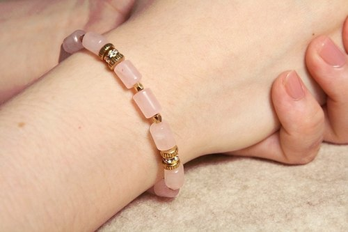 [Ofelia arts & amp; crafts] Natural Stone - Natural rose quartz x brass bracelet [J37-Eleanora]