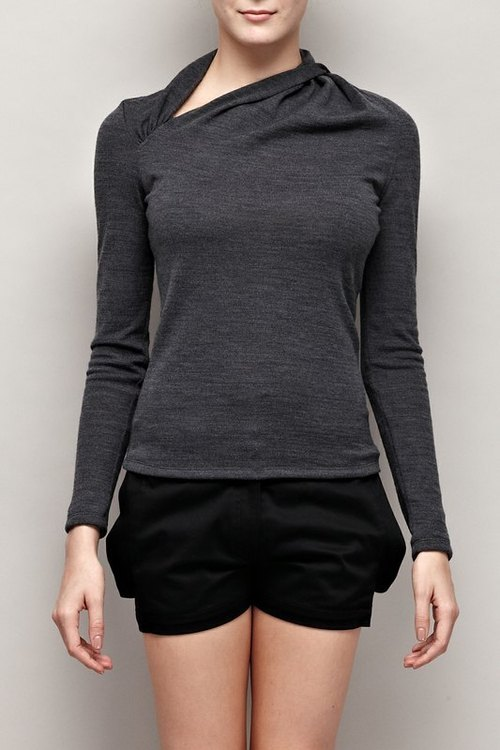 Asymmetrical neckline twist knit shirt Asymmetric Twist Neckline Sweater
