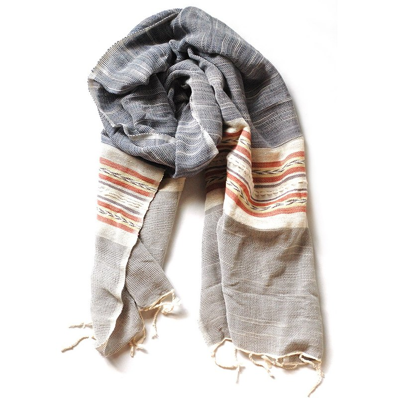Cotton hand-woven scarves - Blue Ash