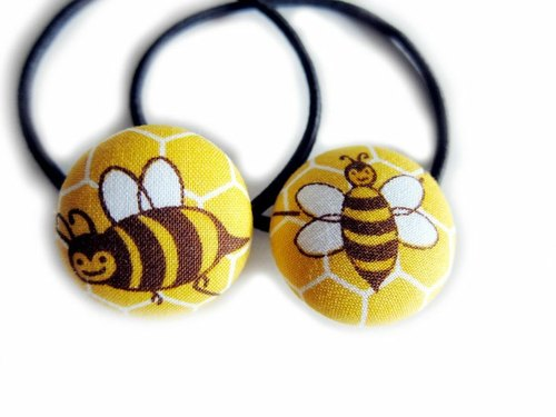 Hand-made cloth button hair headband ring yellow bee