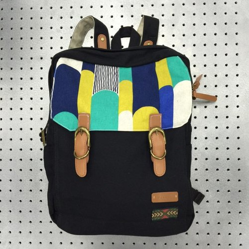 After the blue-green meteor gift backpack black canvas