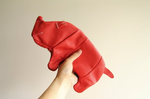 + zoom - rhino shape pencil case, storage bag, cosmetic bag, leather bag - cowhide
