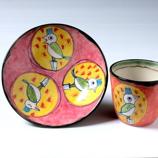 Enamels free cup set of interesting bird