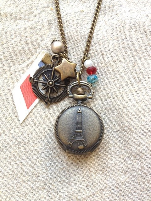 [Imykaka] ♥ traveled Eiffel Tower pocket watch necklace Valentine