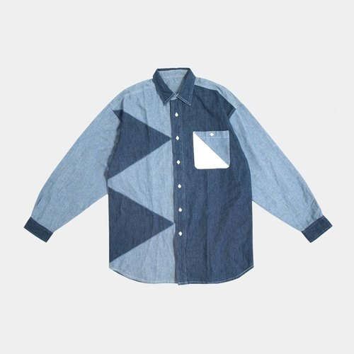 │moderato│ personality triangle vintage denim stitching shirts │ gift forest retro. Girlfriend and unique. Art