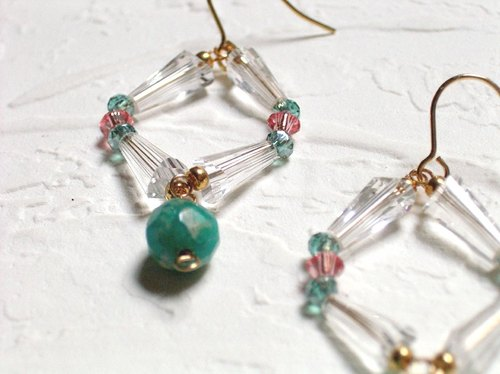Blue-green amazonite earrings swaying