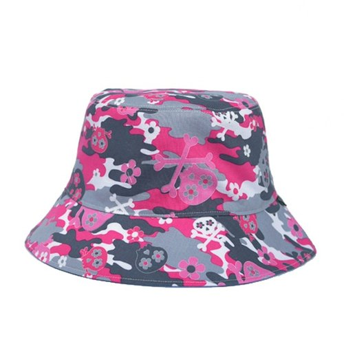 Pink camouflage hat playful double-sided skeleton