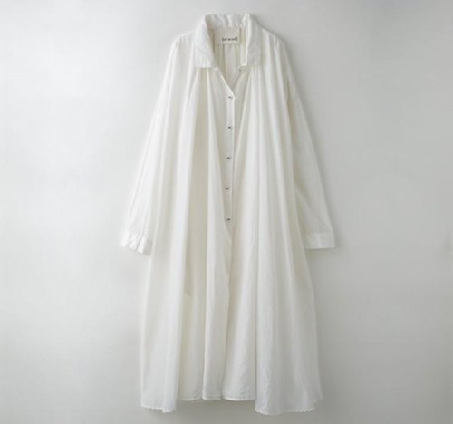 【Botanical dyed】 White camellia dyed cotton silk gathered dress