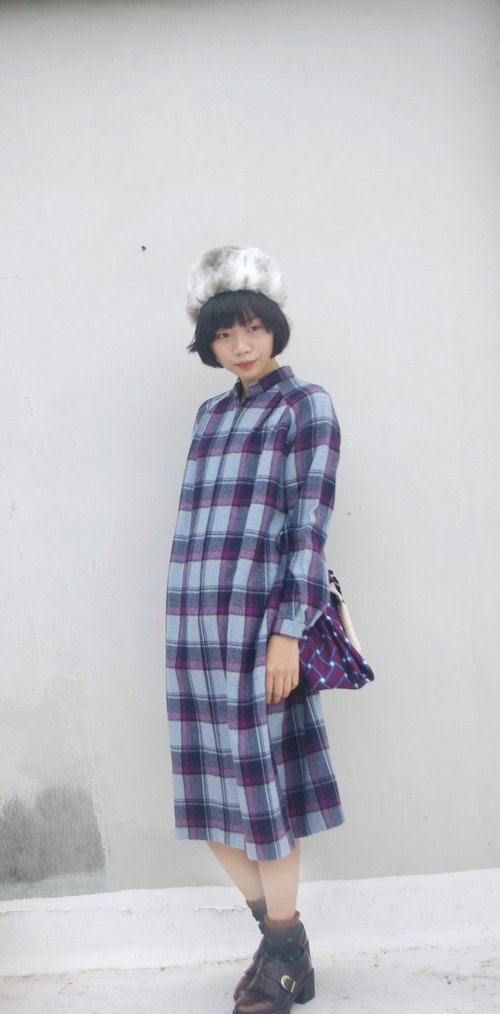 4.5studio- vintage Japanese treasure hunt - purple plaid wool collar loose ocean village