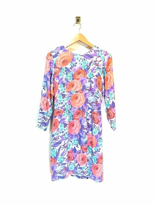 Peony printing wide waist vintage dress PdB