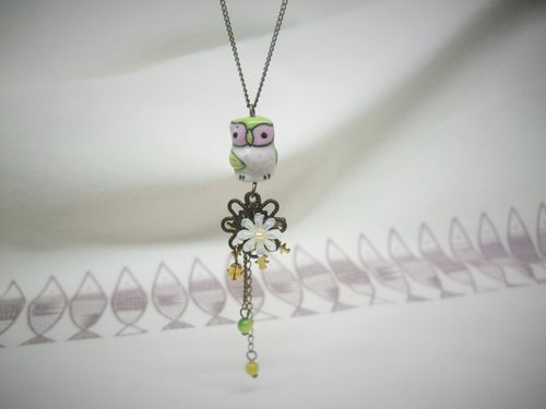 Long necklace - sad little owl