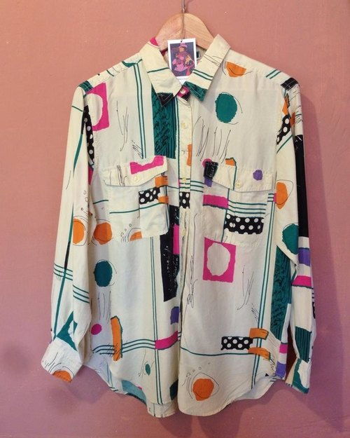 VINTAG geometric blocks of color long shirt