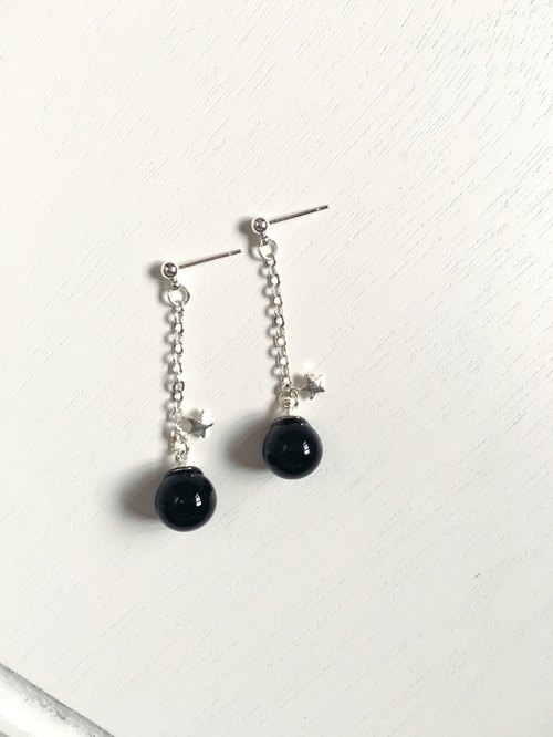 *Haku‧Neko*night Stardust - black glass ball long earrings flashing Little Star