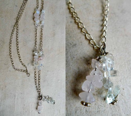 Pink crystal & amp; opal long chain