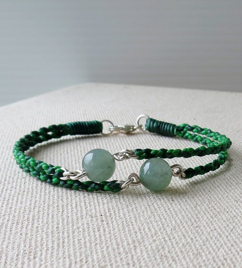 [Opium poppy ﹝ Love ‧ chain ﹞] Silver ***fashion lucky pledge wax line silk ice kind of jade bracelet emerald green lake**] [four strands of double-stranded series