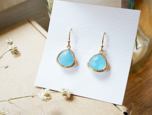 Edith & amp; Jaz Birthstone Earrings - Aquamarine (March)