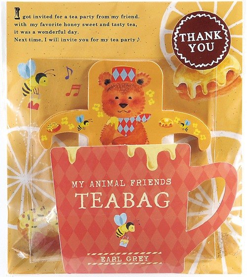 Japan TOWA [black] THANK YOU series of cute animals hanging ear package tea - Earl Grey taste (brown bear)
