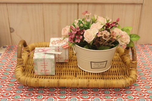 Chinese name Oleta living grocery ╭ * [ZAKKA grocery style romantic rose artificial flower pot group (white)] pink flowers