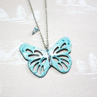 Mint Butterfly hollow enamel long chain