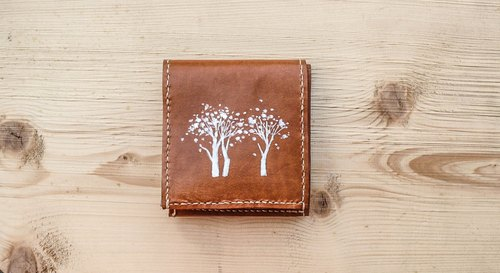 Do not hit the snow white forest light brown vegetable tanned leather full leather short wallet