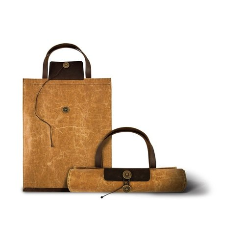 [ADOLE] wax pattern cloth antique leather - retro roll Shopping Bag