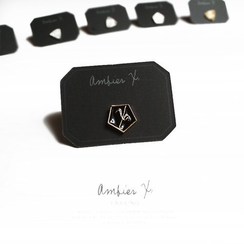 """AMBiER - X:"" X Series Pentagon earrings / black gold"