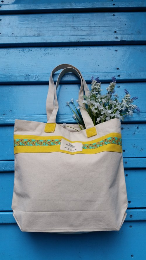 Scandinavian-style yellow floral pattern bag / handbag / shoulder bag / cotton canvas / handmade