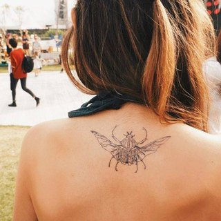 LAZY DUO Beetle Minimal Graphic Temporary Tattoo Stickers Summer Bug Matching