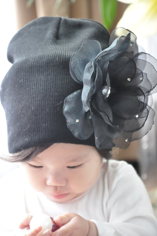 Angel Nina hand-made black camellia hairpin lace hair band baby warm cotton cap