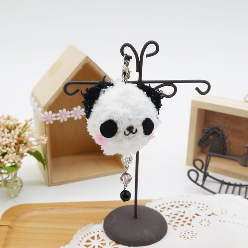Knitting soft phone strap can be changed key ring Charm - Panda