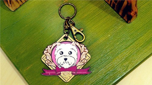 "[Charity care goods] ""NONCOOL‧ cool agriculture"" West Highland White Terrier. Leather key ring"