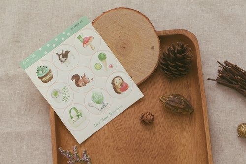 Zoe's forest round stickers -green forest