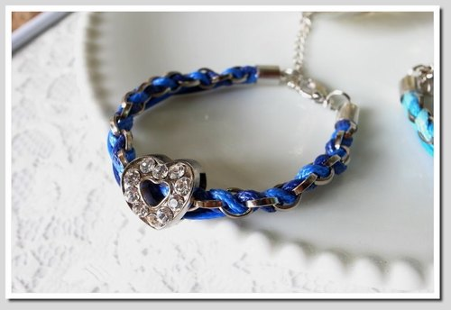 . Love Myself. Love weaving flash diamond bracelet (dark blue x in blue)
