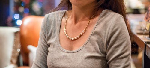 Brass pearl necklace