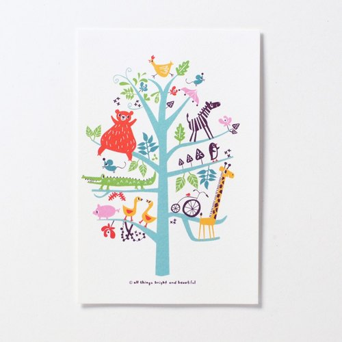 Animal Tree Postcard Tree Postcard