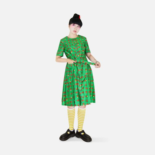A‧PRANK: DOLLY :: VINTAGE green retro pop style with printed vintage dress