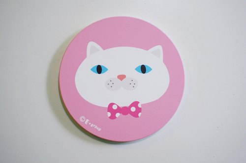 E * group head meow white ceramic absorbent coasters