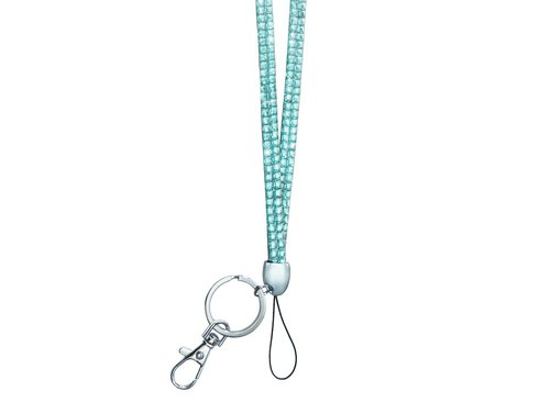 Bling Bling Rhinestone Lanyard - Light Blue