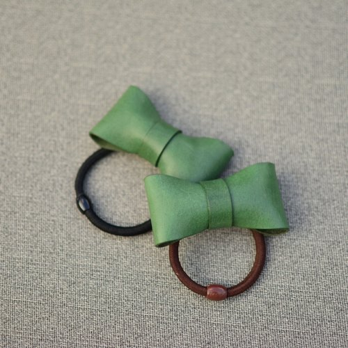 HIKER Leather Studio // Bow hair ring_Green color