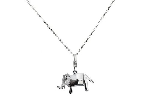 Origami plaid elephant fairy Silver Necklace