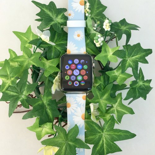 Apple Watch Series 1, Series 2 and Series 3 - Chrysanthemum White Floral Pattern Printed on Genuine Leather for Apple Watch Strap Band 38 / 42 mm